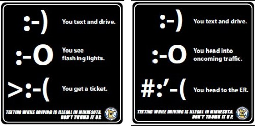 Messages to discourage texting and driving