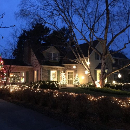 Home with white holiday lights