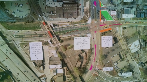 The green section of what is now Minnehaha north of Franklin indicates a space for pedestrians, and will no longer allow traffic through. Pink shows new medians.