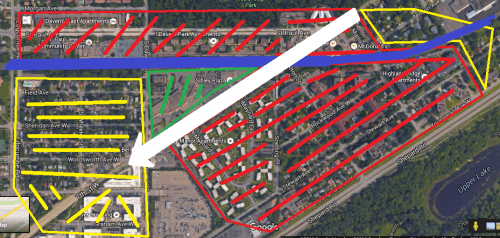 A horrendous mashup of Microsoft Paint and Google Maps. Pretty much, just across the river from the Airport, in Saint Paul there's a LOT of low income housing.