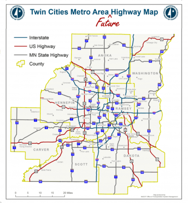 Map Of Twin Cities Mn Introducing the Twin Cities Metro Area Future Highway Map | streets.mn
