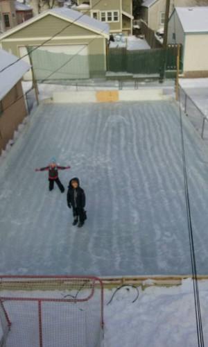 Backyard rink.