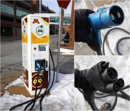 A dual-standard 50-kilowatt high-voltage DC charging station at the University of Minnesota sporting both CHAdeMO (blue) and CCS (black) connectors.