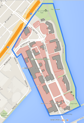 Canal Park and its parking lots