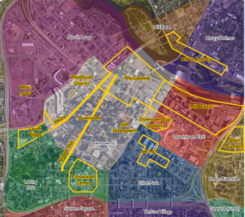 Neighborhoods and less-official neighborhoods of downtown. White labels = official, yellow labels = semi- or unofficial.