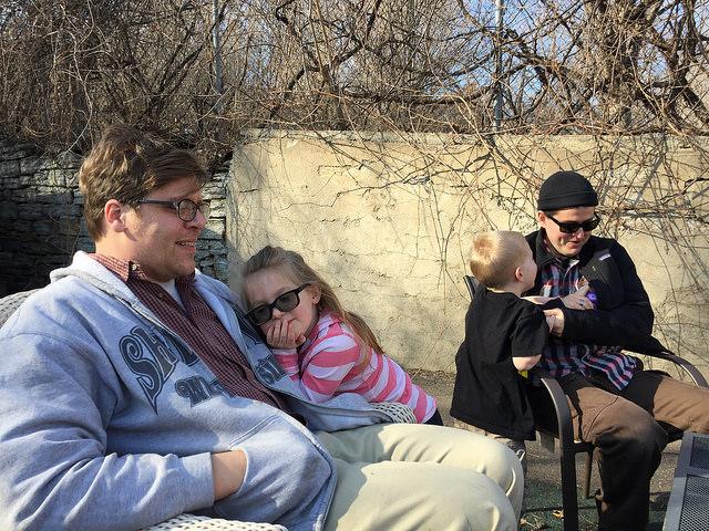 Bill Lindeke and Scott Nivens entertaining Annie and Luke