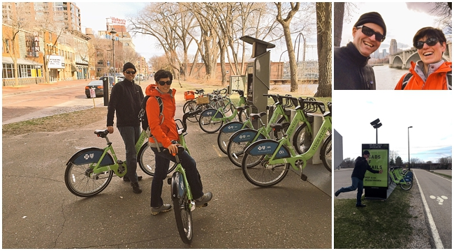 Collage of Janelle and Scott using Nice Ride bikes