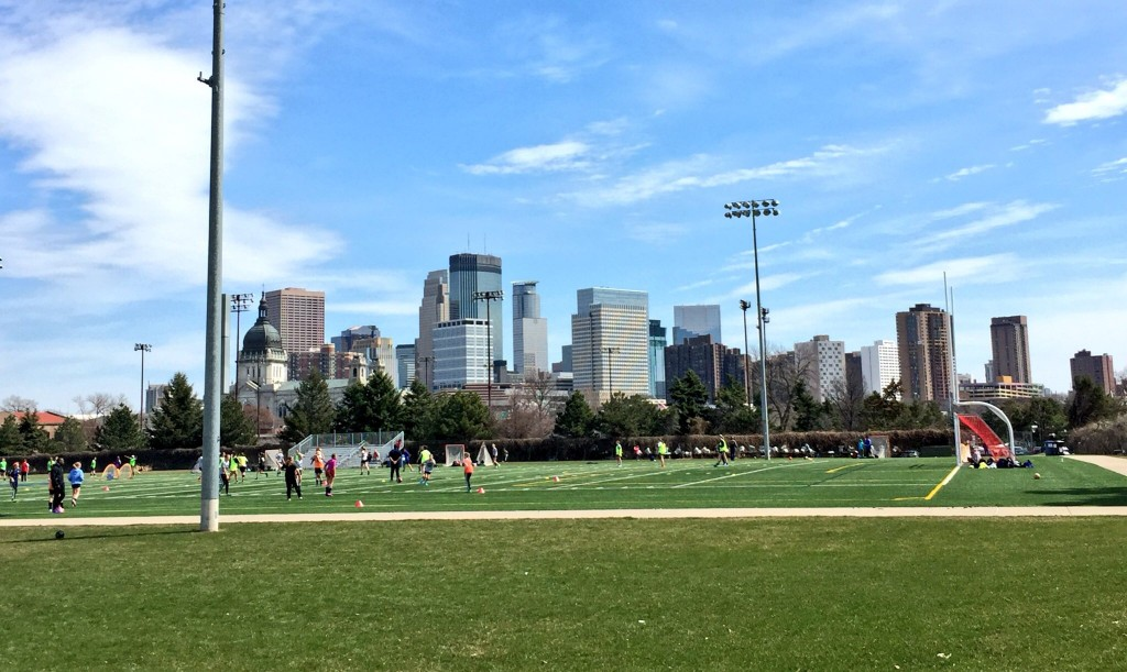 Soccer Field with a view of downtown Minneapolis