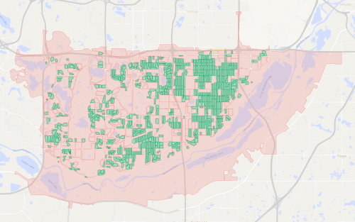 A map of city blocks in Bloomington.