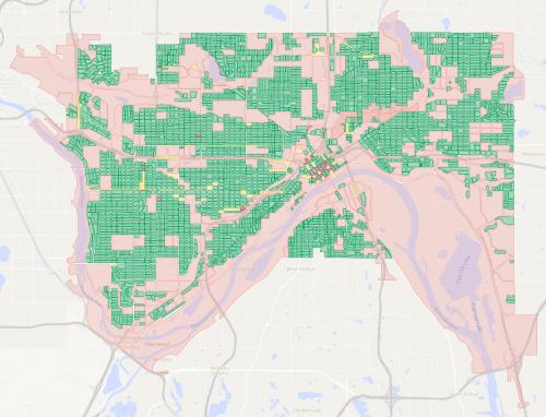 A map of city blocks in Saint Paul.