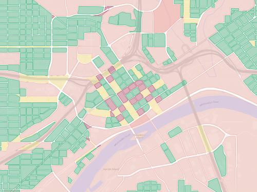 Map of city blocks in downtown Saint Paul.