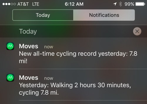 Notifications of an all-time record and a summary of activity from previous day