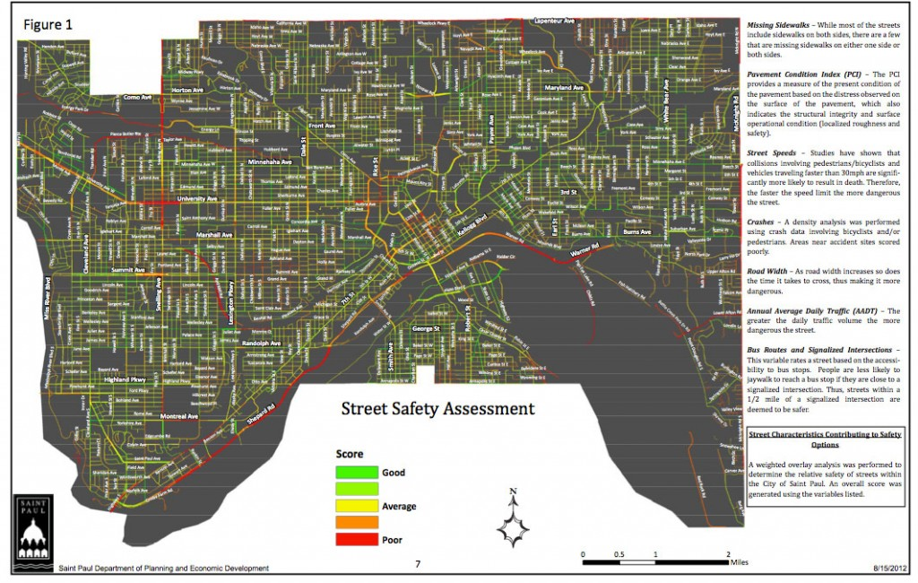 St Paul Traffic Map.Map Monday Saint Paul Street Safety Evaluation Streets Mn
