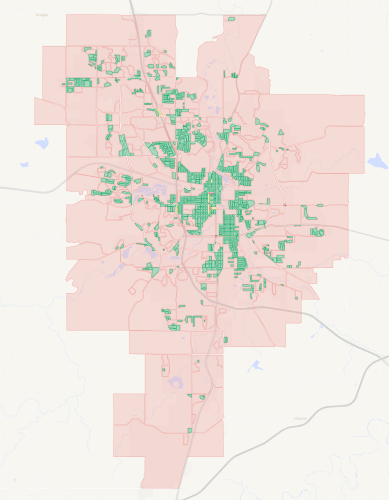 A map of city blocks in Rochester, Minnesota