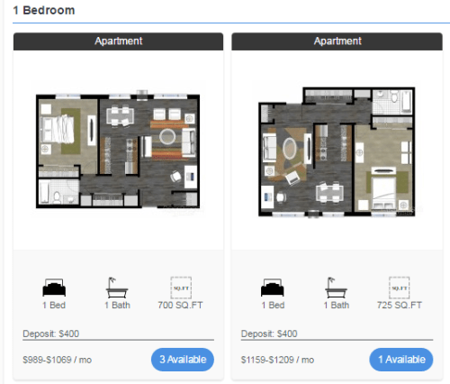 Rents for multiple 1 bedroom layouts at Concierge