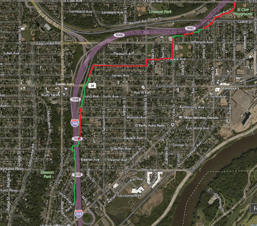 The red lines are where the trail is on the street. The green lines are off road path.