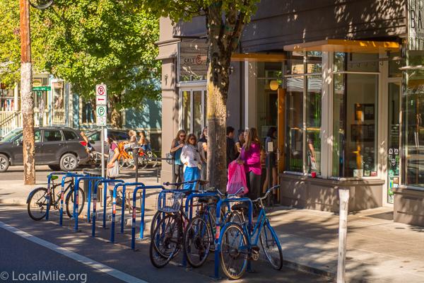 Bike racks and parking are very plentiful.