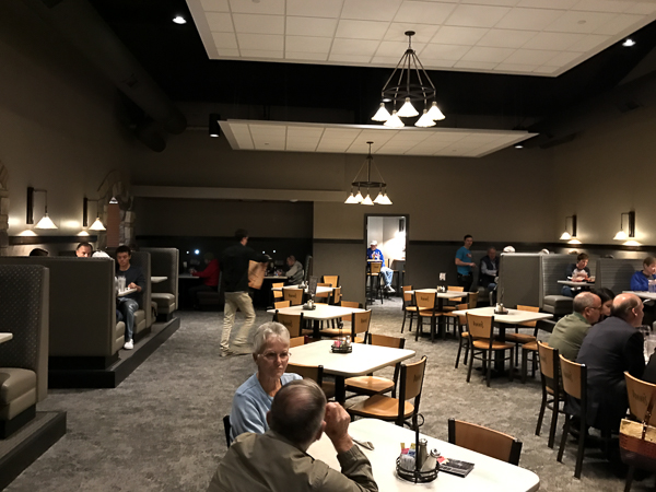 The new space in Paninoes. The far wall is an exterior wall that has tables and umbrellas on the other side.