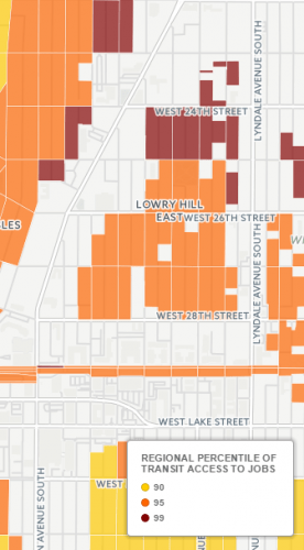 Parts of Lowry Hill East have better transit access than 99 percent of the region.