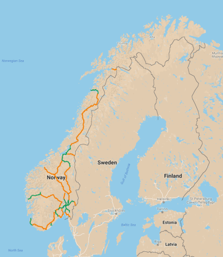 Map of existing passenger rail service in Norway