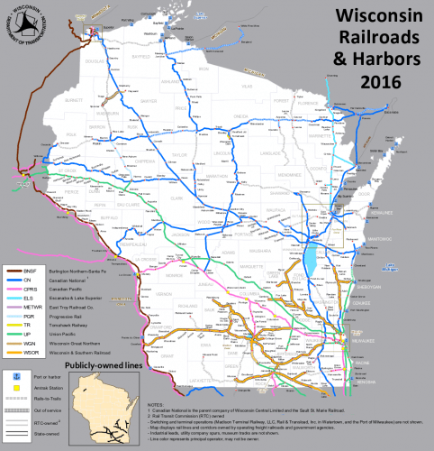A map of the existing freight rail system in Wisconsin, from WisDOT