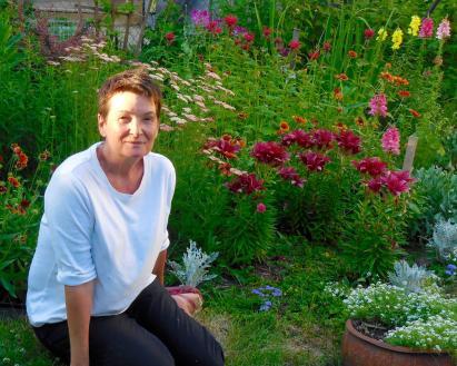 Beautiful Julie and her beautiful garden