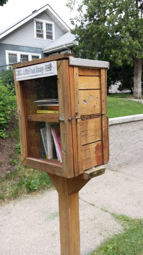 A Little Free Library Employing Salvaged Materials