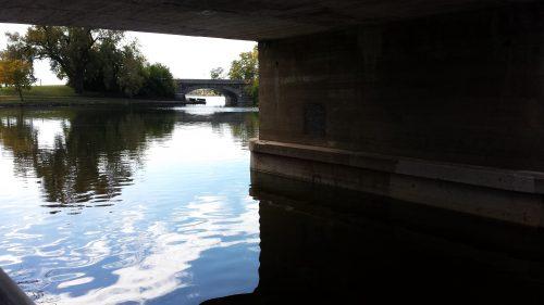 Looking under Midtown Greenway Bridge at Lake Street Bridge over Calhoun-Isles Channel