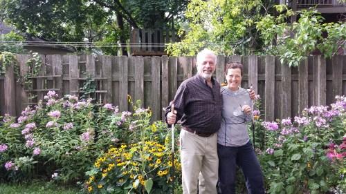 Jeremy Iggers and Carol Bouska in Their Garden