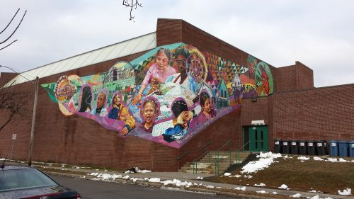 Central Identity Project Mural on Central Gym at the Richard R. Green Central Park School