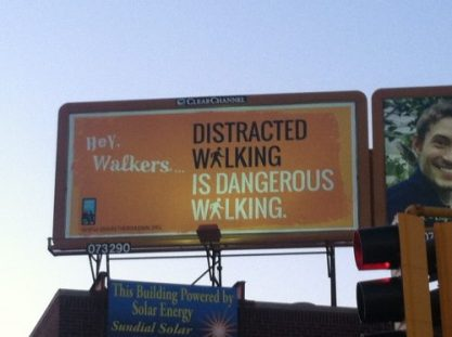 distracted walkingwaling billboard st paul