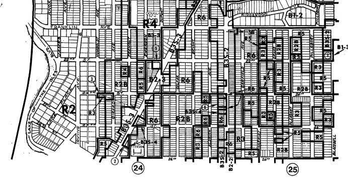 Map of Lowry Hill East and Whittier neighborhoods from 1975
