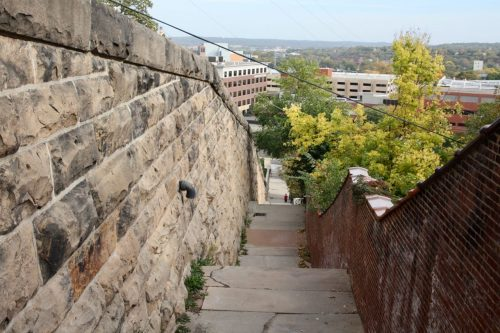 The view toward Downtown Saint Paul from near the top of the Walnut Street Steps.