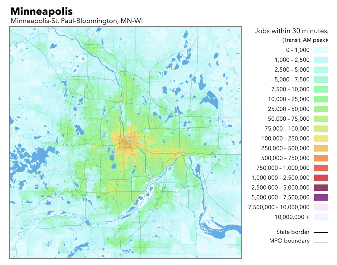 Map Monday Twin Cities Jobs By Transit Accessibility Streets Mn