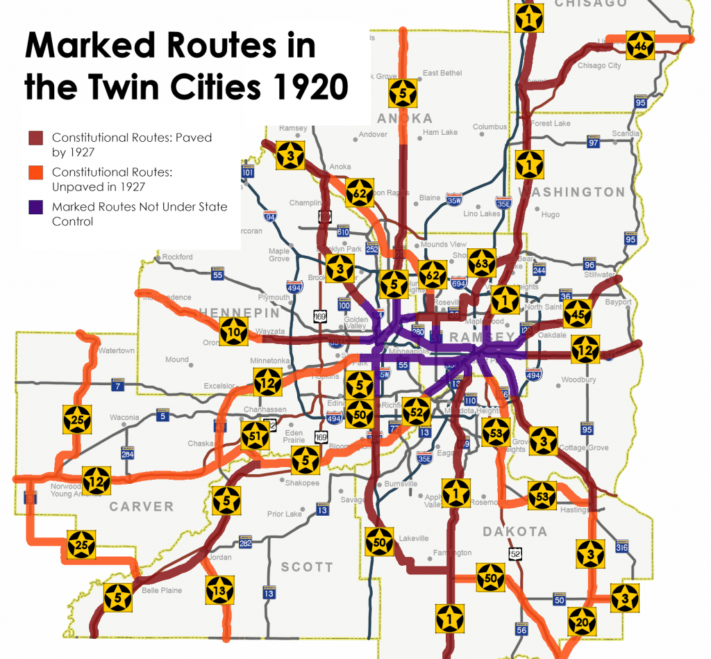 Marked Routes in the Twin Cities 1920