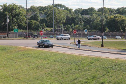 pedestrians on Energy Park Drive