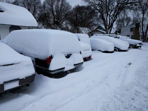 Snowbound parked cars
