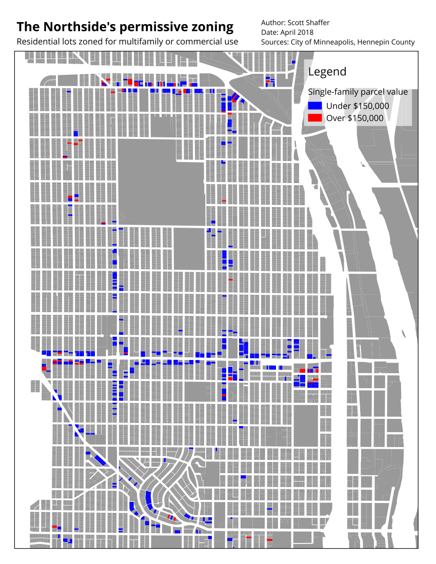 Map showing single-family dwellings in multifamily zones in north Minneapolis