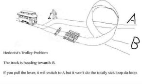 "An illustration captioned ""Hedonist's Trolley Problem."""