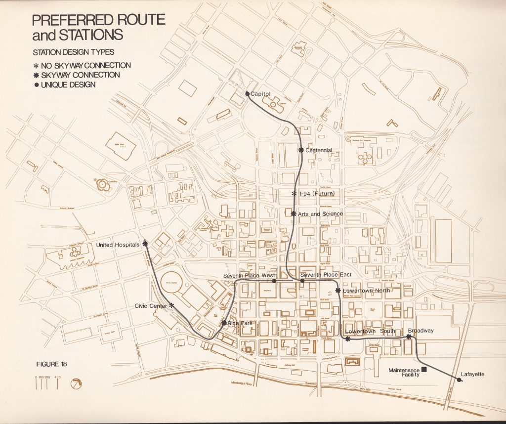 Map of route and stations for the proposed downtown people mover for St. Paul from 1979. The route travels from Lowertown to Seventh Place to the Capitol and another branch goes to United Hospital off Smith Avenue.