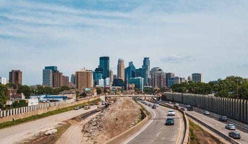 Minneapolis Skyline View from 24th Street Pedestrian Bridge