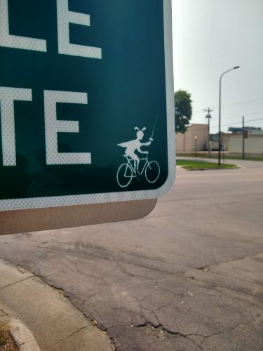 A detail from the Bike Circle sign in New Ulm.