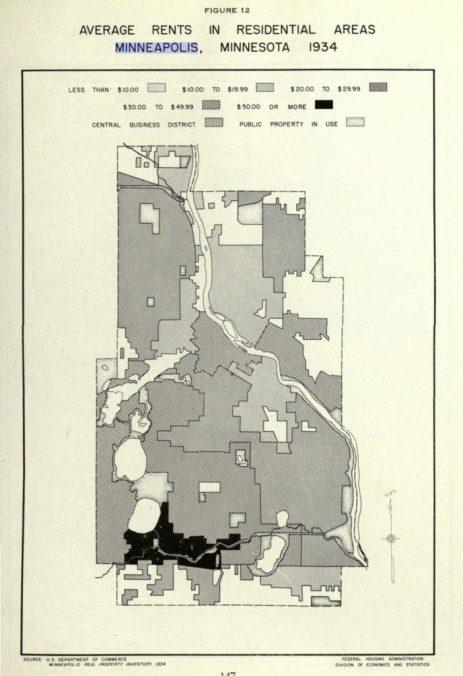 1939 Mpls Average Rents Map