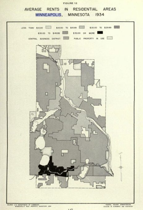 1939 Mpls Average Rents Map