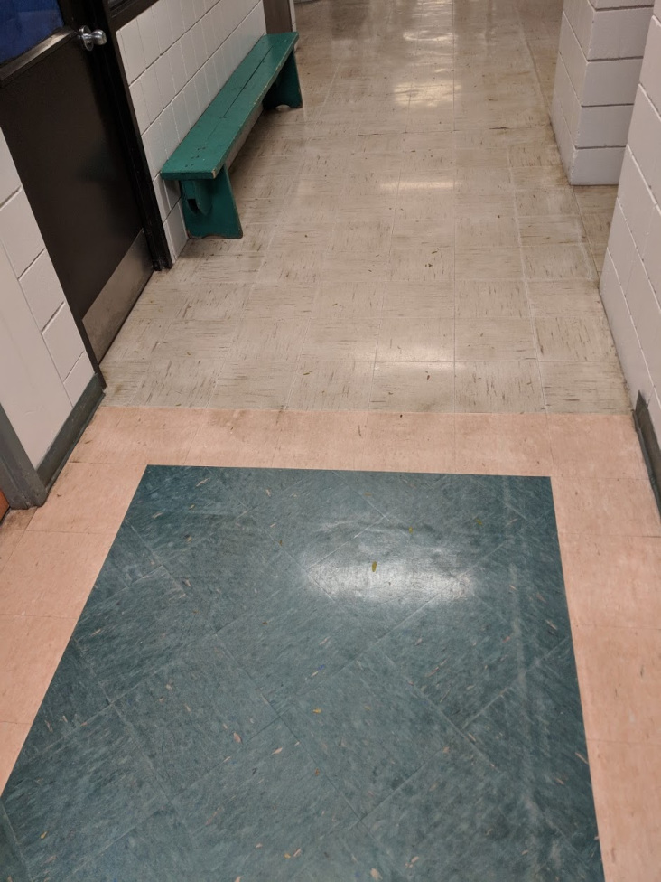 Figure 3. Inside the recreation center. Note that there is a line that separates two different types of tiles: the closer tiles belong to the recreation center, and the further tiles belong to the school.