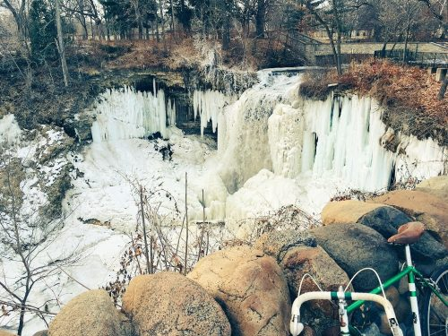 Minnehaha Falls, winter, via bicycle