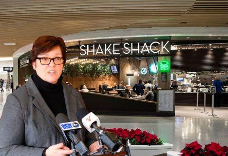 April Fools - Margaret Anderson Kelliher in front of Shake Shack
