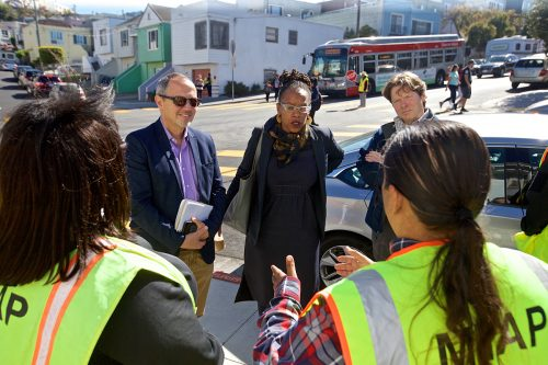 BART Board Directors meet with Muni Transit Ambassador Program workers to discuss the programs functions. Photo: Kevin N. Hume, SF Examiner