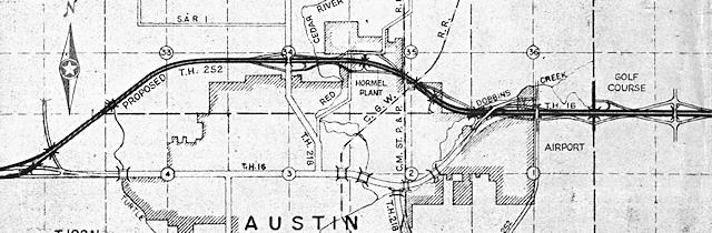 Map of Austin Bypass from Minnesota Highways magazine