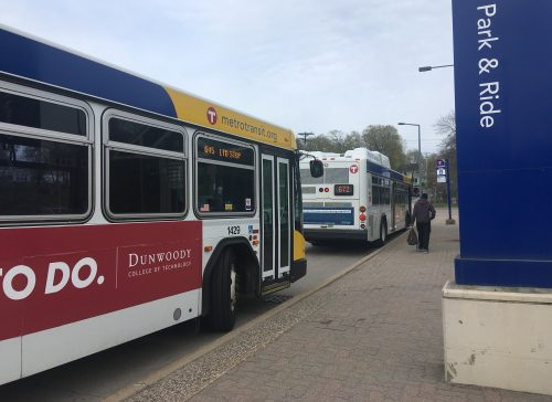 Metro Transit buses wait for passengers at the Wayzata Park and Ride on May 6, 2019.